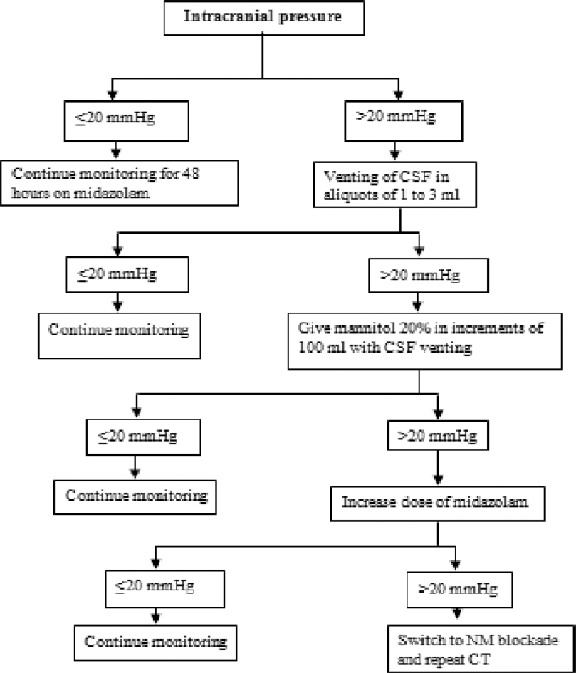 Figure 1: Flow chart of escalating treatment intensity for control of raised intracranial pressure